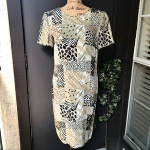 Maggie London Animal Print Silk Sheath Dress